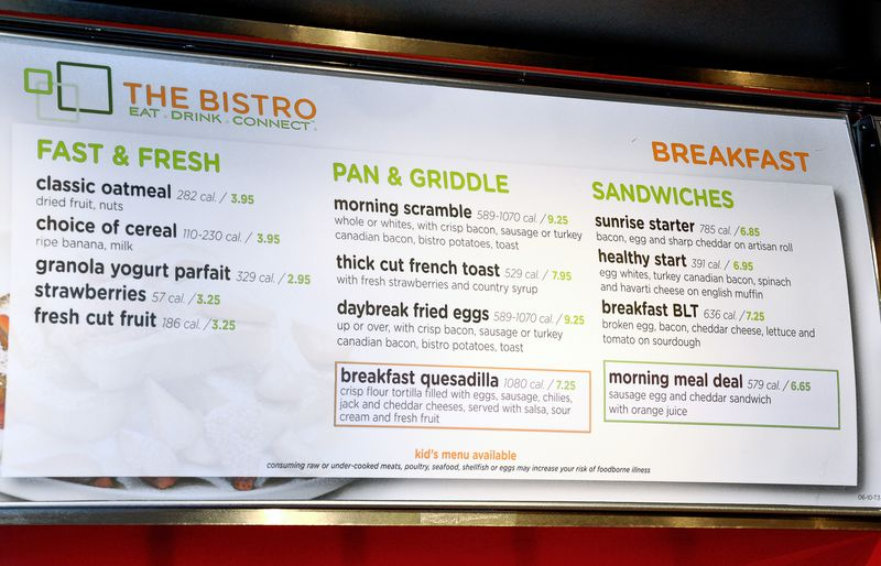 The Bistro Breakfast Menu With Calorie Count