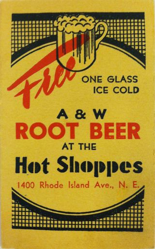 Ticket for a Free Root Beer at the Hot Shoppes