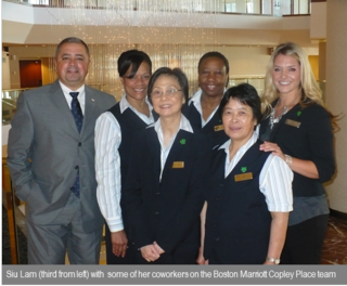 Siu Lam and members of the Boston Marriott Copley Place team