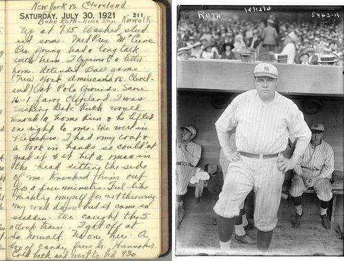 My dad's diary & photo of Babe Ruth