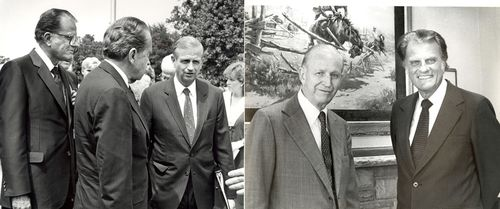 Rev. Billy Graham, President Nixon and me; Dad and Rev. Graham