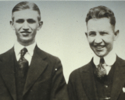 J. Willard Marriott (left) with future business partner Hugh Colton circa 1920.